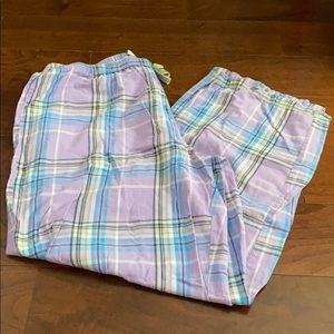 Adonna Lavender plaid pajama pants size L